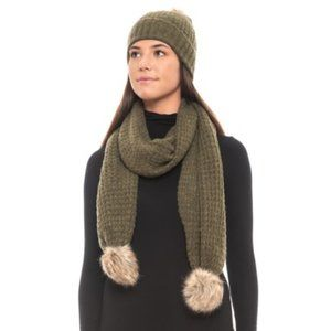 Aspen Recovery Faux-Fur Hat and Scarf Set Black*
